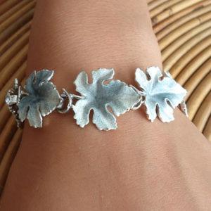 MCM Blue Leaf Bracelet Vintage 1950s